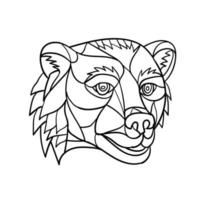 Grizzly Bear Head Black and White Mosaic vector