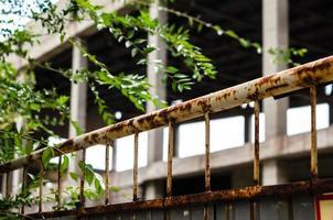 valla oxidada con hojas verdes foto