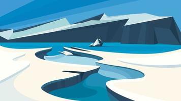 Arctic landscape with frozen water. vector
