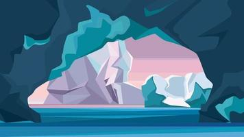 Arctic landscape with ice cave. vector