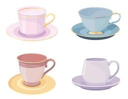 Set of cups with saucers. vector