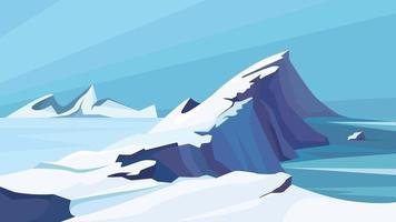 Frozen arctic ocean. vector