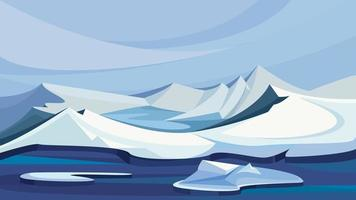 Arctic landscape with ice mountains. vector