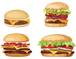 Set of different burgers. vector