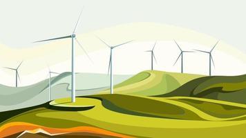 parques eólicos con colinas verdes. vector