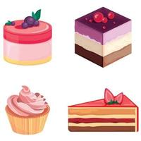 Set of cakes. Beautiful pastries decorated with cream and berries. vector