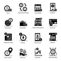 Modern ,Bitcoin and Blockchain icon set vector