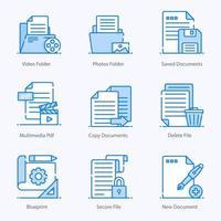 conjunto de iconos de carpetas y archivos multimedia vector