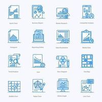 conjunto de iconos de análisis de datos modernos vector