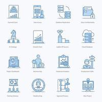 conjunto de iconos de gestión corporativa moderna vector