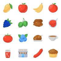 Conjunto de iconos de frutas y alimentos de diferentes estaciones vector