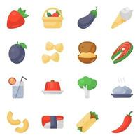 Vegetables and Cuisines icon set vector