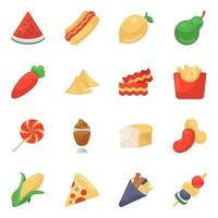 Food and Drinks Items icon set vector