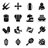 conjunto de iconos de comida japonesa de moda vector