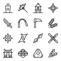 conjunto de iconos de accesorios y elementos japoneses vector
