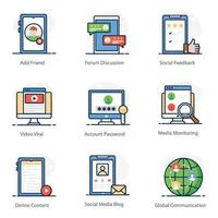 Variety of Social Media and Network icon set vector