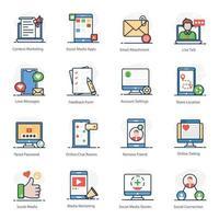 Social Media Elements icon set vector