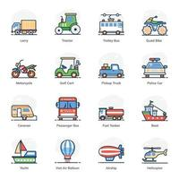 Transportation  and Automobile icon set vector