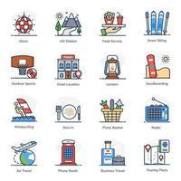 conjunto de iconos de elementos de viaje y senderismo vector