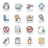 conjunto de iconos de emergencia médica y sanitaria vector