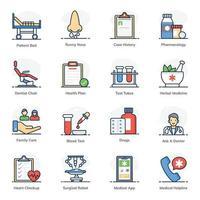 conjunto de iconos de fitness y tratamiento médico vector