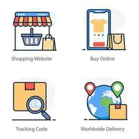 Shopping and Delivery icon set vector