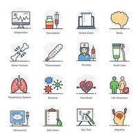conjunto de iconos de emergencia y médicos vector