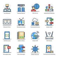 Data and Communication icon set vector