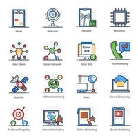 Network and Communication icon set vector