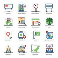 Maps and Geolocation icon set vector