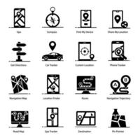mapas y elementos de navegación vector