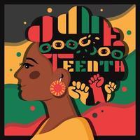 tipografía del diecinueve de junio en cabello afro vector