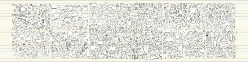 caja de lápices de dibujos animados conjunto de artes de línea vector