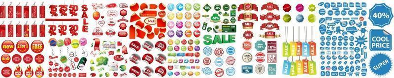 etiquetas de venta. pegatinas de ventas minoristas, etiqueta de precio de promoción y etiqueta de banner de precio de tienda conjunto de vectores aislados