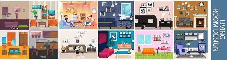 Ilustración de diseño de diseño de sala de estar vector