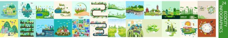 Conjunto de infografías de ecología. infografías de ecociudad vector