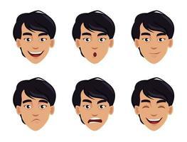 expresiones faciales del hombre asiático vector