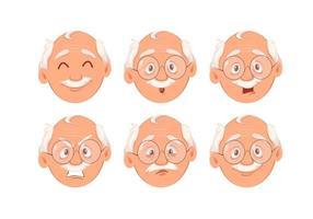 expresiones faciales del abuelo vector