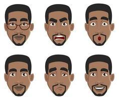 expresiones faciales del hombre afroamericano vector