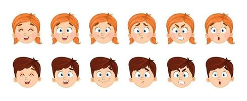 Face expressions of boy and girl vector