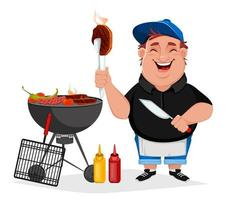BBQ. Young cheerful man cooks grilled food vector