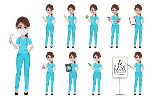Dentist woman holding tools, set of ten poses vector