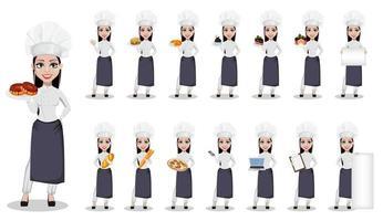 hermosa mujer panadera en uniforme profesional vector