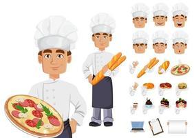 panadero guapo en uniforme profesional vector