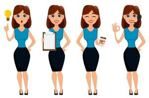 Business woman cartoon character. Cute blonde businesswoman standing near blank placard. vector