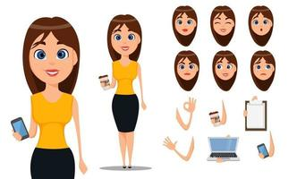 Business woman cartoon character creation set vector