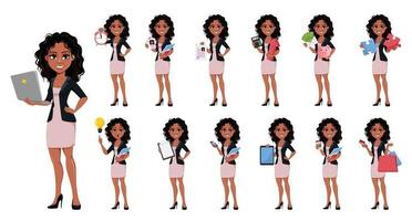 Beautiful young African American business woman vector