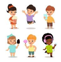 Children set. Cute kids with popcorn, smartphone, ice cream, sweet candy, walkman, jumping, running, standing vector