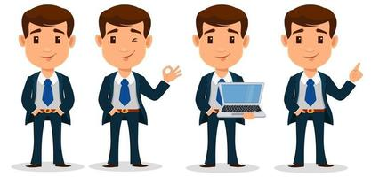 Set of business man cartoon character in smart clothes, office style. Young handsome businessman in suit. vector
