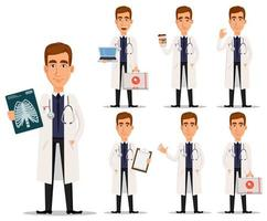 Young professional doctor in white coat, set vector